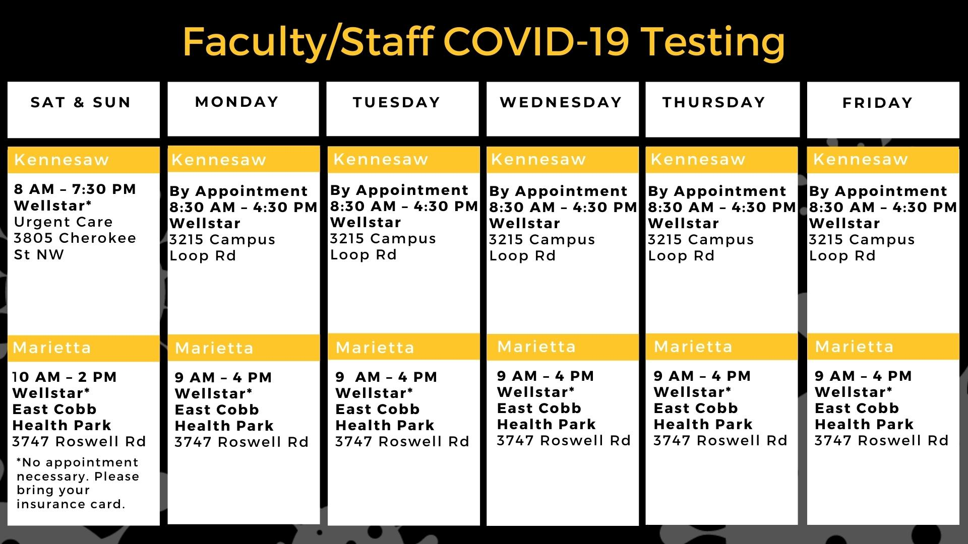 Faculty/Staff COVID-19 Testing Calendar